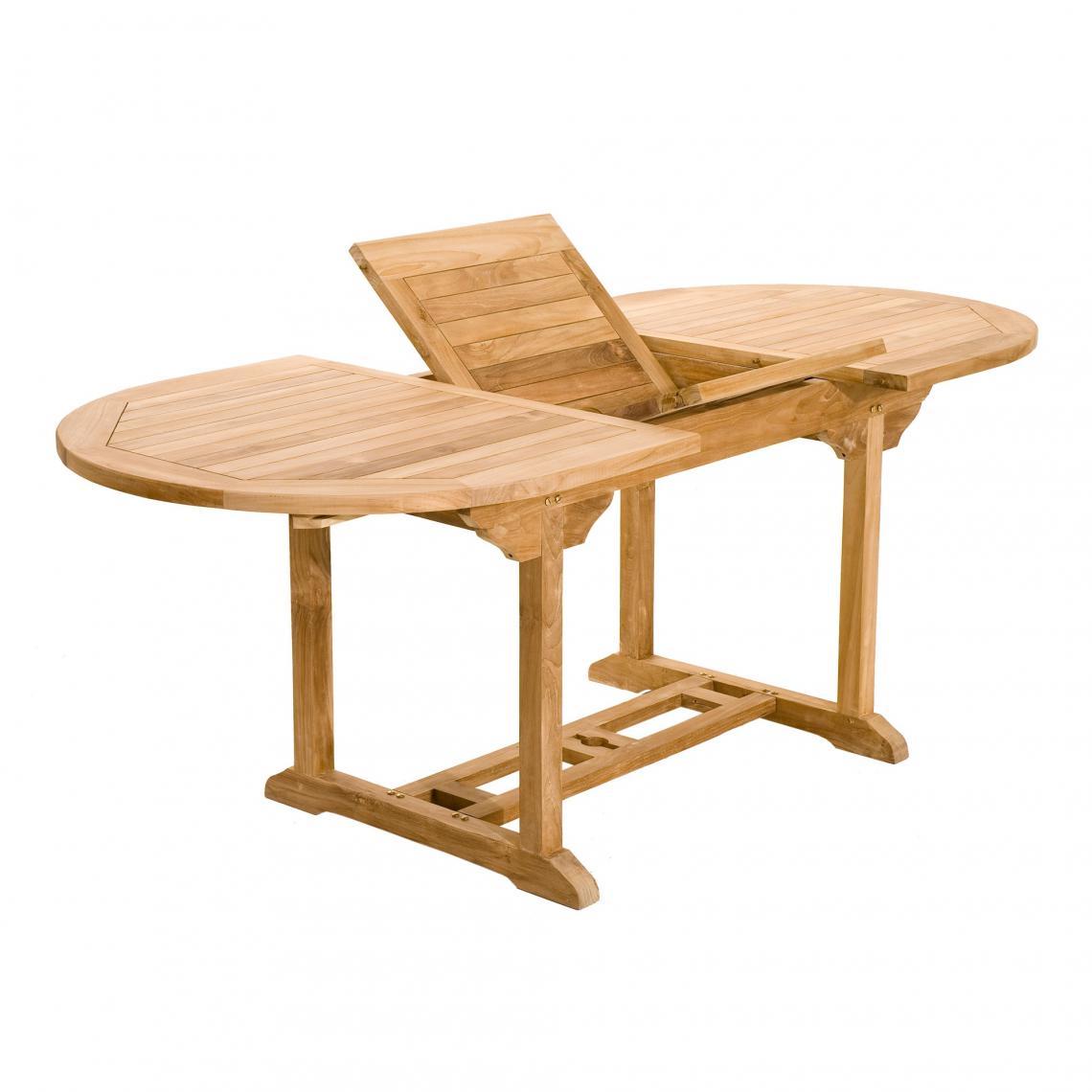 Table Ovale Extensible 6/8 Personnes En Teck Massif - Teck Plus De Détails destiné Housse De Table De Jardin Ovale
