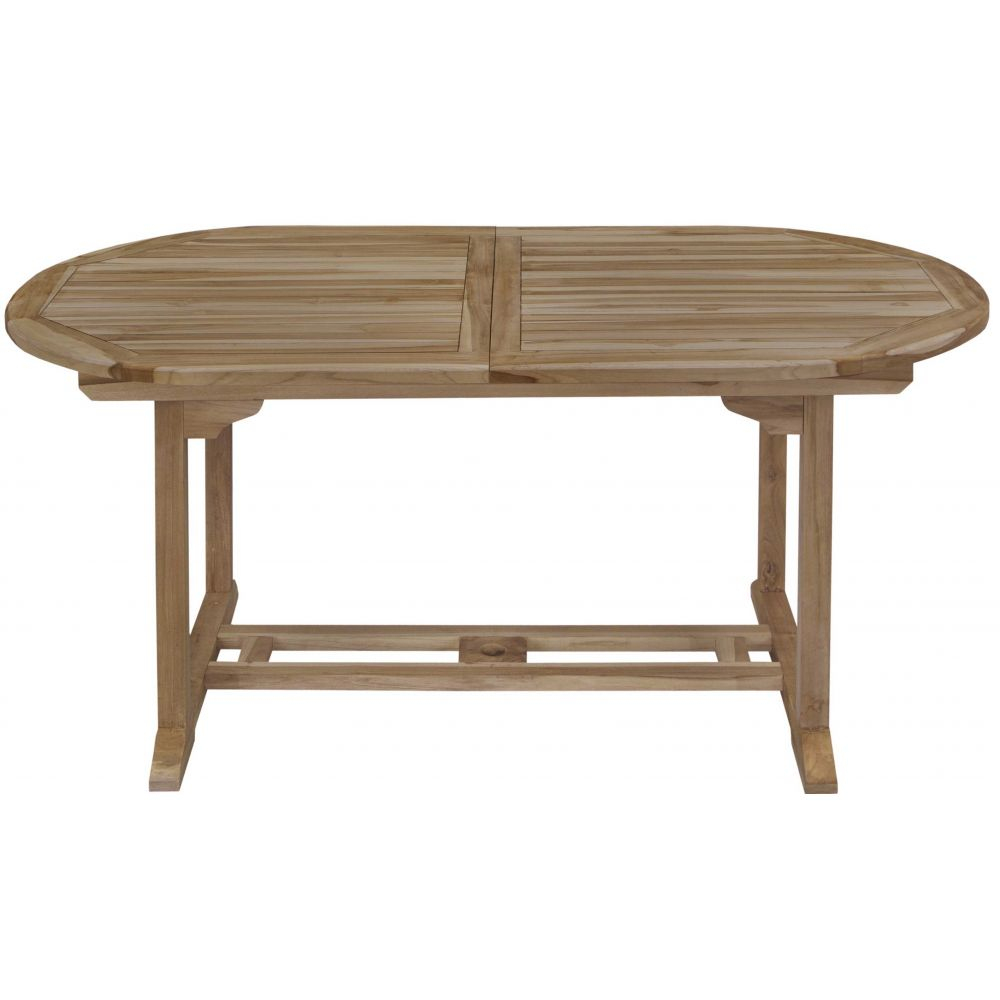 Table Ovale Teck + Allonge 170/210X90Cm encequiconcerne Housse De Table De Jardin Ovale