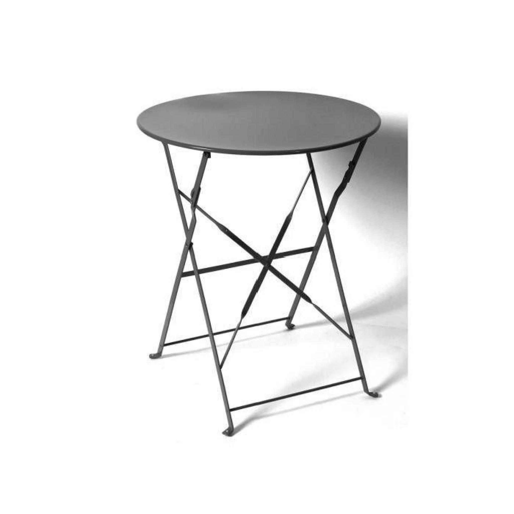 Table Ronde Camargue Pliante Ø 60 Cm Noire Hespéride destiné Table Ronde Jardin Pas Cher
