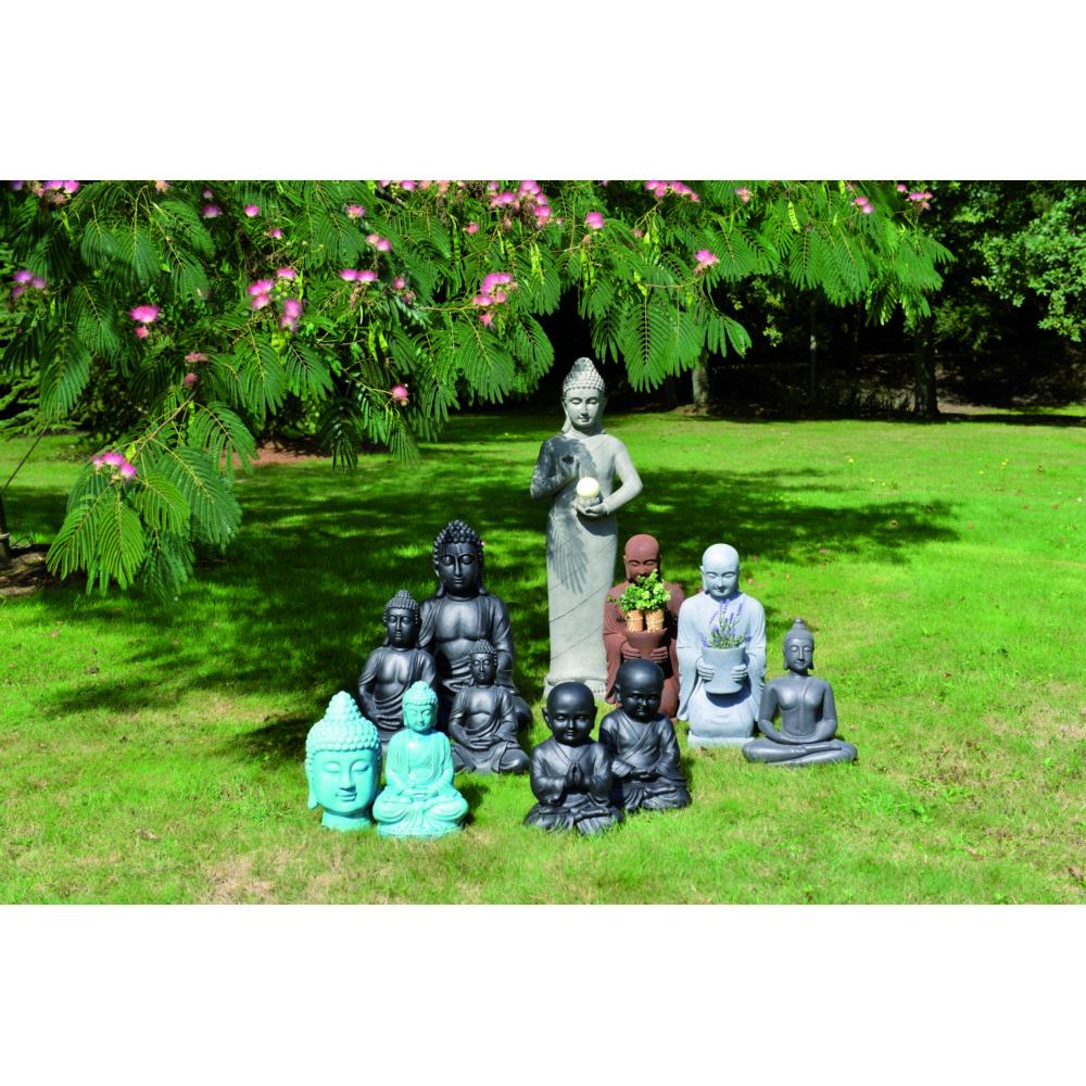 Tête De Bouddha En Céramique Bleu dedans Bouddha Deco Jardin