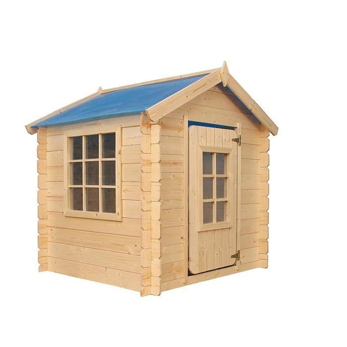Timbela M570 Maisonnette En Bois - Maison De Jardin Pour L'exterieur/pour  L'intérieur - Emboîtée Ép. 13 Mm (Toit Bleu) encequiconcerne Maisonnette De Jardin En Bois