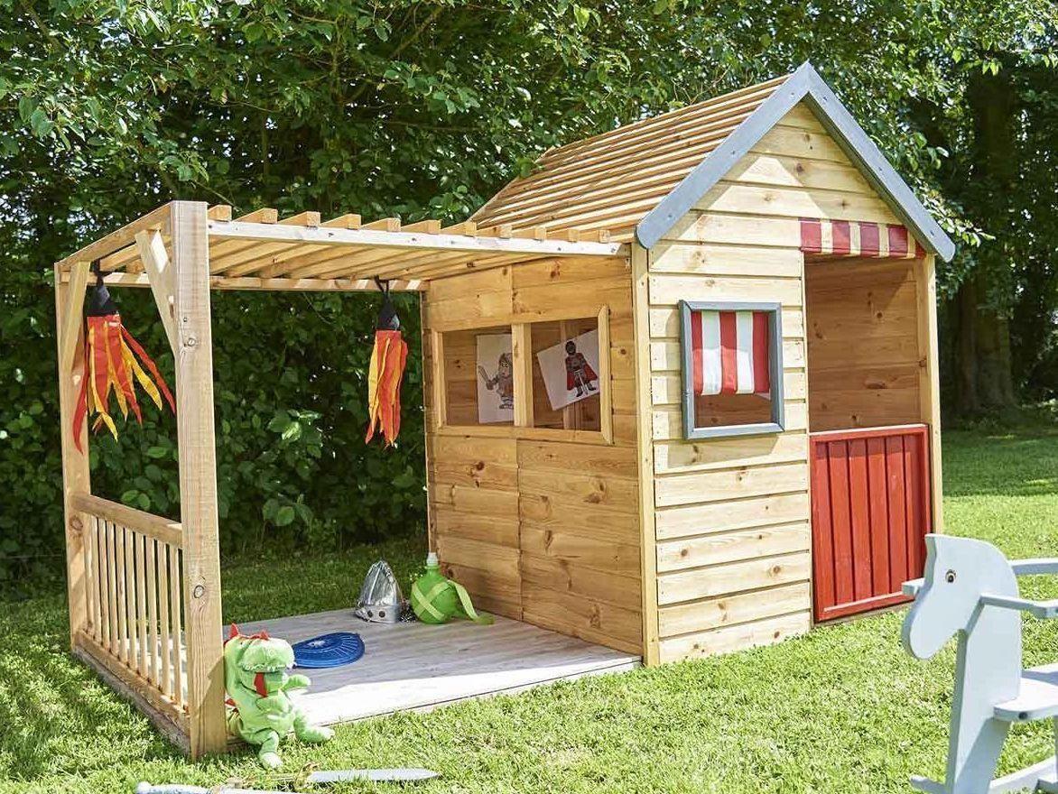 Une Cabane En Bois Pour Les Enfants À Un Prix Raisonnable ... concernant Maisonnette Enfant Bois Alpaga Avec Pergola
