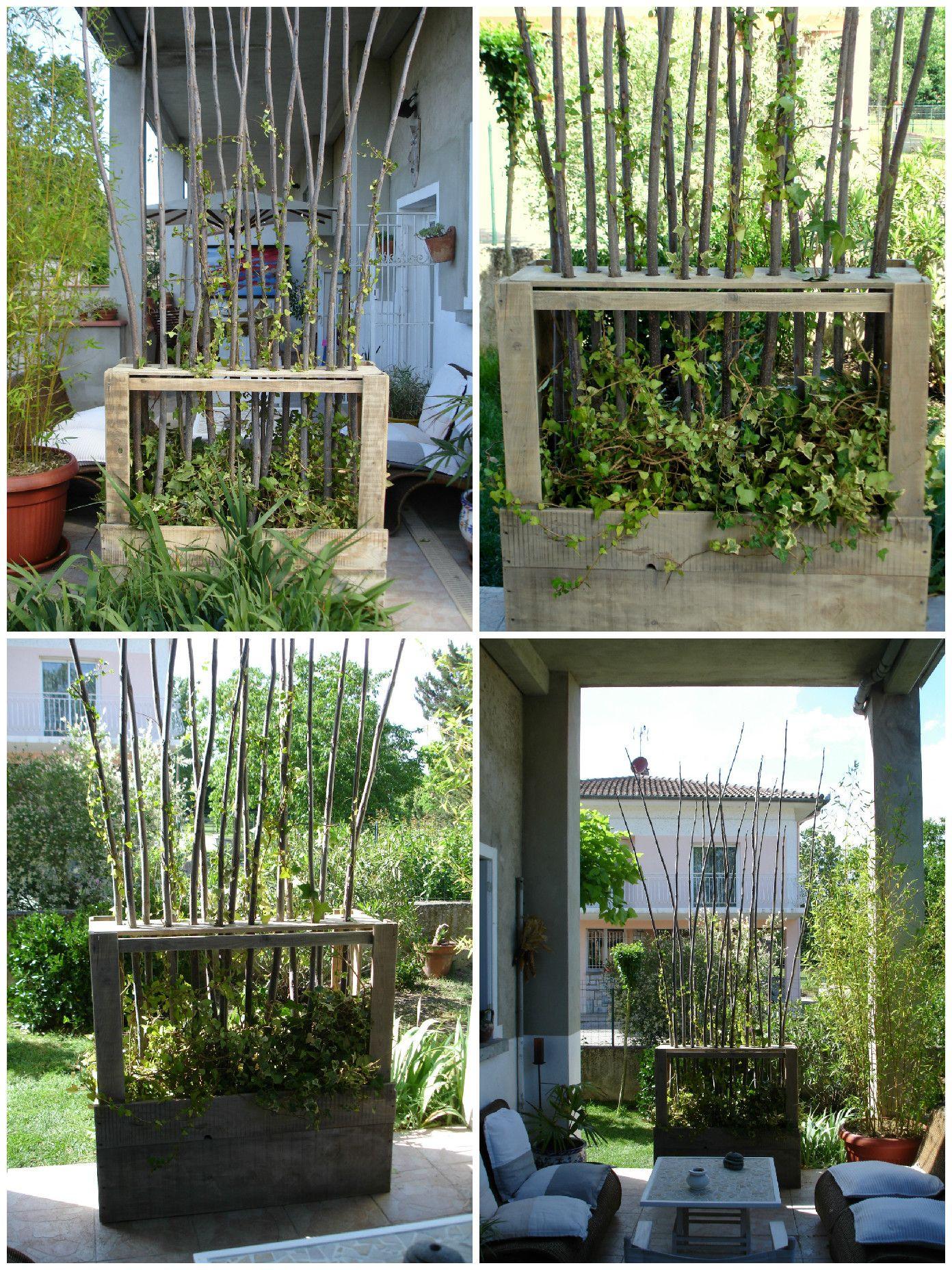 Upcycled Wooden Pallet Vegetal Fence | Jardin | Paravent ... avec Paravent Jardin