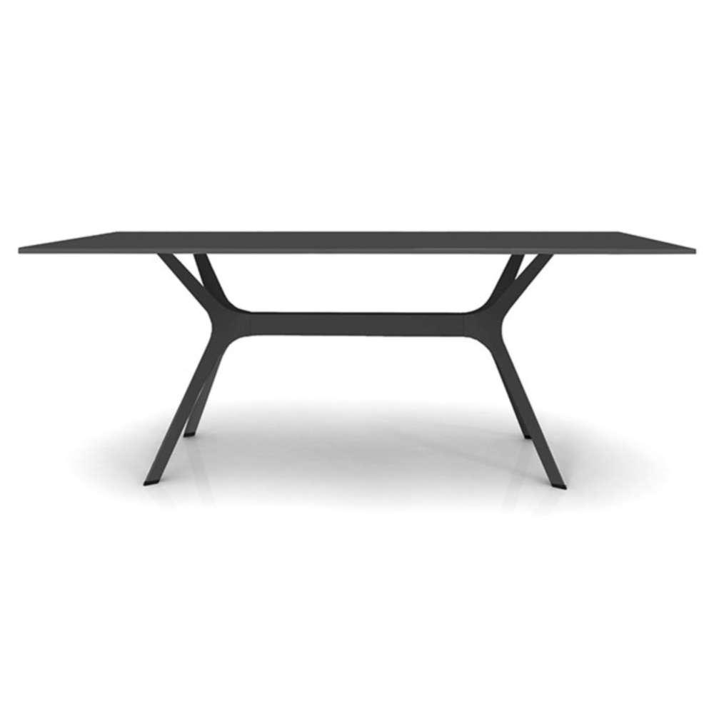 Vela L Garden Table 200X90Cm Hpl Black, Base Black dedans Table Jardin Noire