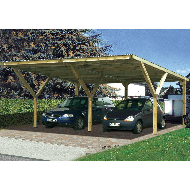 Weka Stahldach-Doppelcarport Mugello B 594 Cm X 606 Cm intérieur Weka Carport