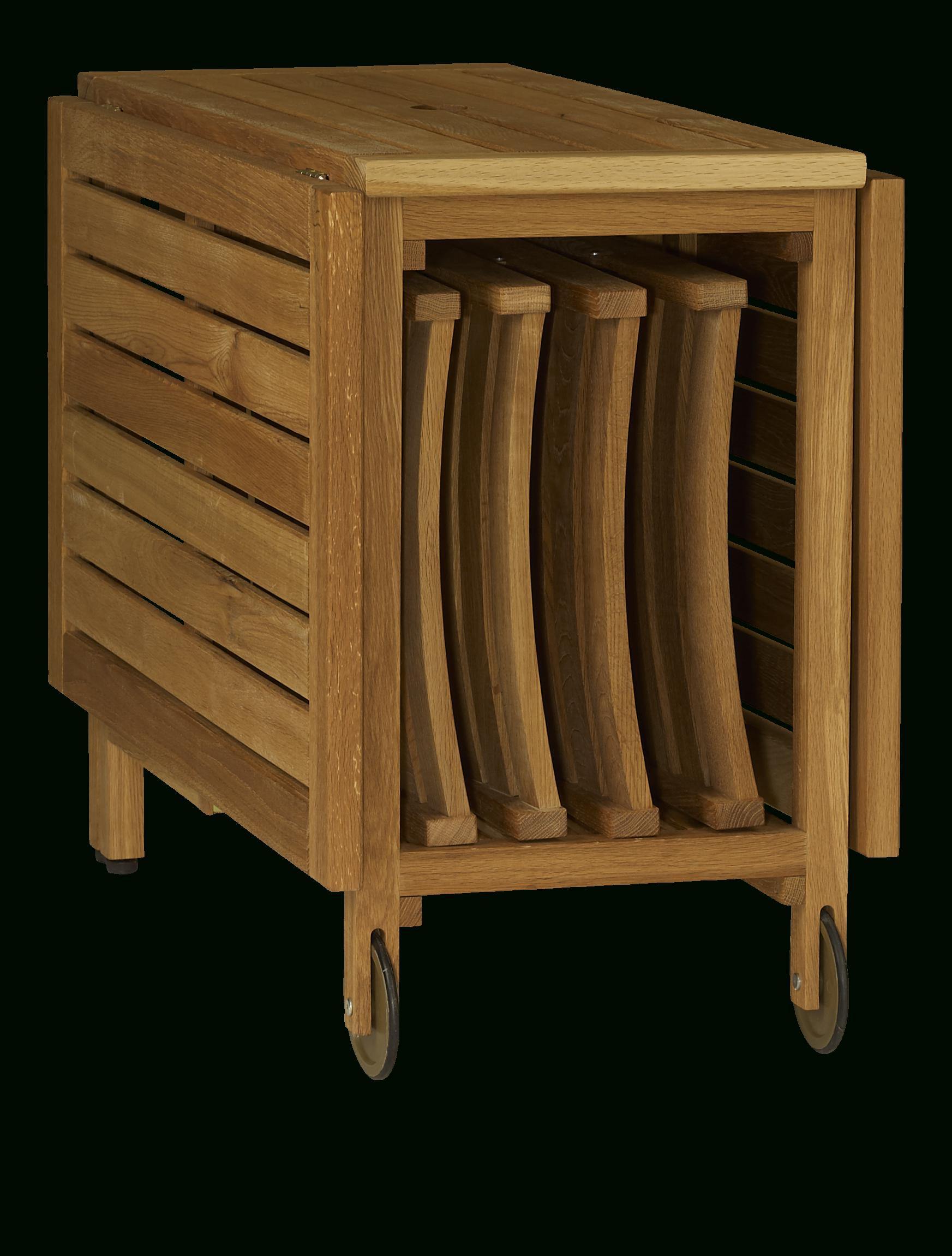 Zeno Table Pliante Et 4 Chaises En Chêne Massif Huilé - 150 ... avec Table De Jardin En Bois Pliante